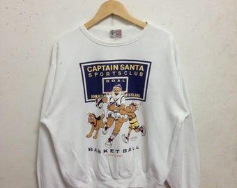 Vintage 90's Captain Santa Sweatshirts Size Medium