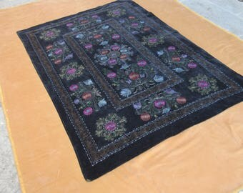 Black Velvet Suzani,Velvet Suzani,Wall Hanging Suzani,Floral Design Velvet suzani,6'2 feet x 4'2 feet ,n:104
