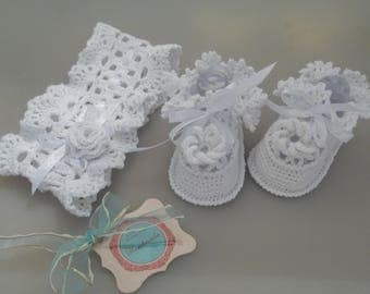 HandicraftUA | Baptismal Set for Girls|Shoes for Girls|Baptism Shoes|Shoes and Headbands|Crochet|Baby Clothing|White Crochet|Baby Blessing