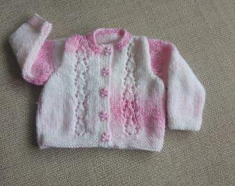 Hand knitted newborn cardigan