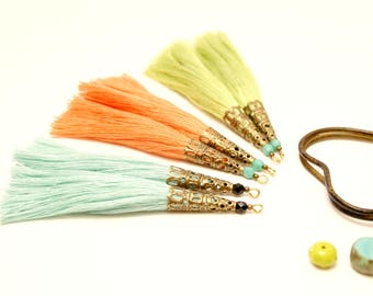 6 large tassels, Large Tassel, mint, coral, lime green, Pearl Turquoise