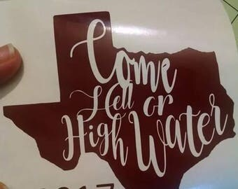 Charity Houston Hurricane Decal, come hell or high water
