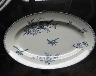 Blue and white Sarreguemines faience serving dish