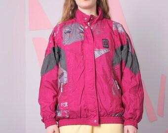 retro windbreaker size L, pink nylon jacket, vintage oldskul windbreaker, zipped pattern tracksuit