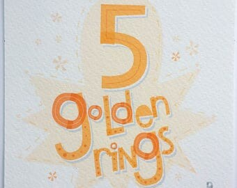 Five Golden Rings Hand-lettered Print