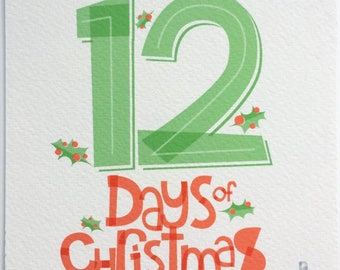 Twelve Days of Christmas Hand-lettered Print