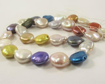 10-12 x 13-15 mm Irregular Multi Color Coin Freshwater Pearl Beads, Genuine Freshwater Pearls, Cultured Coin Freshwater Pearls(544-CMIX1015)