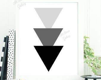 Scandi Wall Art, Scandi Print, Triangle Wall Art, Scandi Poster, Minimalist Print, Black and White Art, Monochrome, Abstract Geometric Print