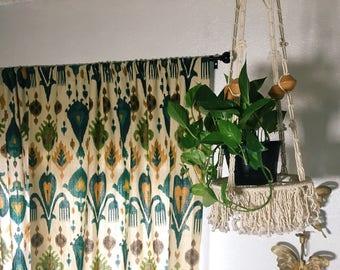 Vintage Macrame Plant Hanger, 1970s Beaded Boho Decor