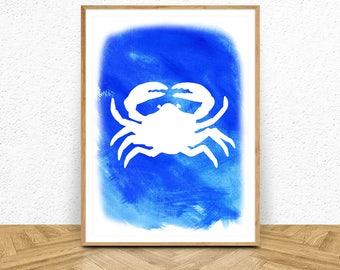 Wallart Print, Beach Print, Beach Decor, Crab Print, Watercolor Art, Crab Printable, Crab Wall Art, Nautical Art, Crab Decor, Crab Poster