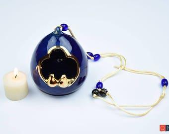 Gold-birds Nest, Blue Hanging Lantern, Handmade Luxury Ceramic, Melbourne