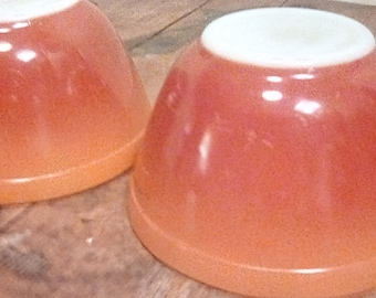 Vintage Pyrex 1970's Flameglo 401 1 1/2 Pint Nesting Mixing Bowls Set of Two Orange