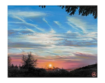 Art - Sunset - Cleeve Hill - 470 x 385mm - LIMITED EDITION