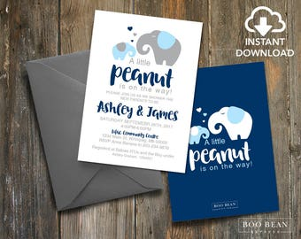 Little Peanut Baby Shower Invitation | Editable Template | Boys Baby Shower | Gender Neutral | Elephant Baby Shower | Digital Download