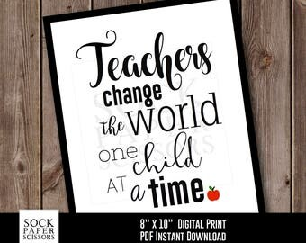 Printable Print, End of School Year Teacher Gift, Teacher Appreciation, Teacher Wall Art, Gift for Teacher, PDF Digital Download, Sku-RHO131