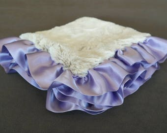 Arctic Fox Security Blanket with Satin Ruffle in Lavender