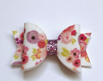 White floral blooms fabric felt medium dolly bow