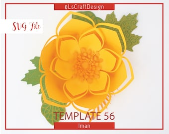 SVG Paper flower, Paper Flower Template, Giant Paper Flower Templates, Cricut and Silhouette Ready, Base Including