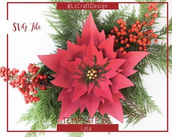 SVG Paper flower, Christmas Decor, Paper Poinsettia Flower, Christmas flower, Base Including, Cricut and Silhouette Ready