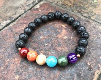 Chakra Bracelet / Balencing Energy // 7 Chakra Bracelet with Lava Beads / gemstone jewelry