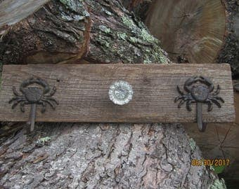 Barn wood Coat/Towel Hanger with Vintage Glass Knob and Crabs