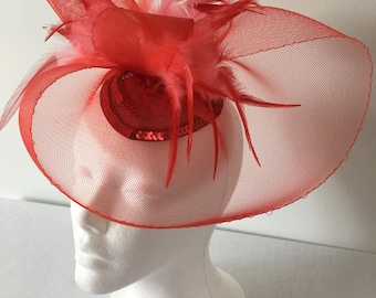 Red Fascinator Hat, Wedding Hat, Church Hat, Derby Hat, Tea Party Hat, Sequin Hat, Derby Fascinator