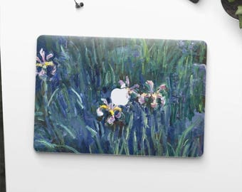 "Claude Monet, ""Irises"". Macbook Pro 15 sticker, Macbook Air 13 cover, Macbook Retina decal. Macbook cover. Macbook sticker."