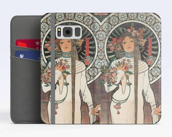 "Alphonse Mucha, ""La Trappistine"". iPhone 8 Wallet case, iPhone 7 Wallet case  iPhone 6 Plus Wallet case. Samsung Wallet cases."