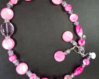Pink and Crystal necklace e earring set