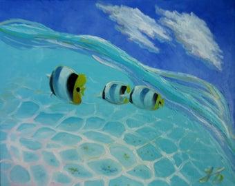 Caribbean Water Memories Nadia Bykova Original Oil Painting Sea Fish Sunlight  Reflection New Home Decor Gift Idea for Her Him Friend Girl