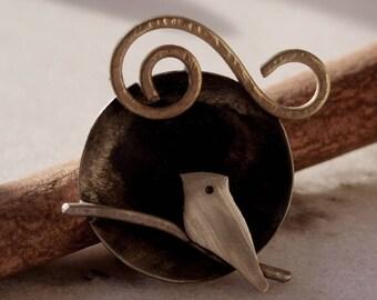 Birdy Bird (Handmade ring. nickel silver. Brass. Sterilng silver)