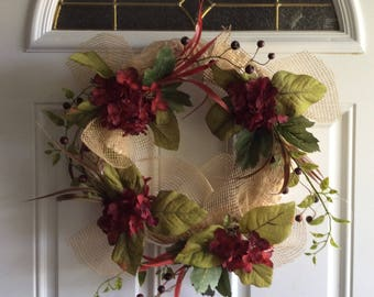 Rustic deep rich red floral wreath