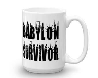 15 oz mug, gift for her, gift for him, new-york city skyline, babylon survivor mug, city life, coffee mug, black and white mug, coffee time