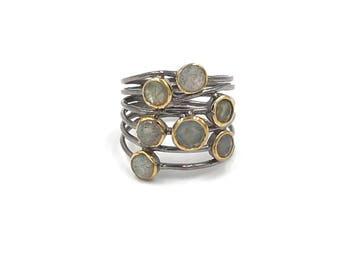 New design:  Sterling silver labradorite confetti ring