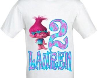 Poppy Trolls Birthday Shirt,Trolls Birthday shirt,Girls Poppy trolls shirt,Poppy troll shirt,Girls birthday shirt,Personalised birthday top