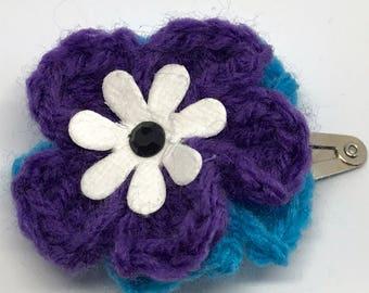 Purple and Blue Flower Hair Clip