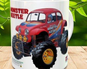 Monster Beetle Coffee Mug with optional Keychain, gift for RC lover, RC Car Coffee Mug, Gift for Him, Radio Controlled Car Mug, RC car gift