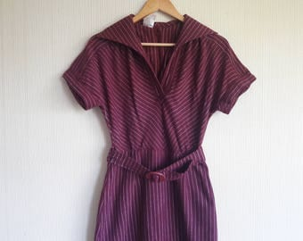 Vintage burgundy wool dress size S, dress women fall, Vintage 1970s Dress, striped dress in vintage, Boho Dress, vintage inspired dress
