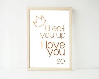 Real Foil Print - I'll Eat you Up I Love You So Print, Nursery Baby Kids Prints Decor Wall Art, Gold, Gopper, Silver