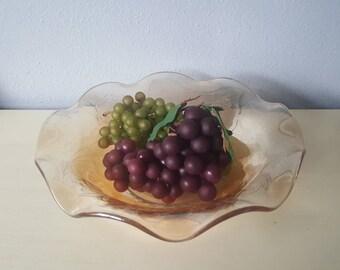 Orange carnivel glass Bowl Vintage center piece