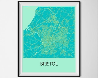 Bristol Map Poster Print - Blue and Yellow