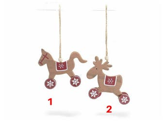 A colorful wooden decoration hanging CHRISTMAS 1)
