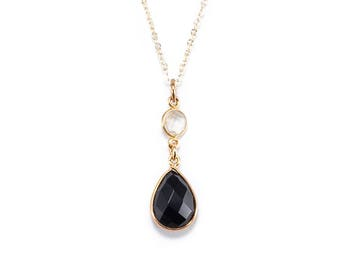 Black Onyx and Quartz Gemstone Pendant Necklace