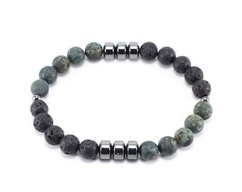 Lava Stone & Rhyolite Men's Bracelet
