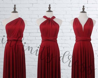 Burgundy Bridesmaid Dresses, long infinity dress, Wine Red LONG Floor Length Ball Gown Infinity Dress Convertible Formal Multiway Wrap Dress