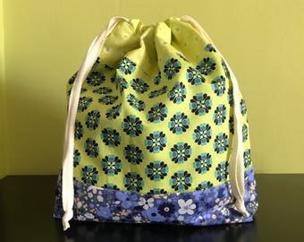"Handmade drawstring bag / pouch for knitting crochet project 10.5"" x 8.5"" x 3""  *Blue flowers *"