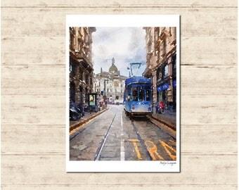 Blue Tram Watercolour Painting Postcard Poster Art Print Q108