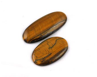2 Pcs Genuine Yellow Tiger Eye cabochon Gemstone~68x27mm~211Cts Handmade Tiger Eye Gemstone*GS1092