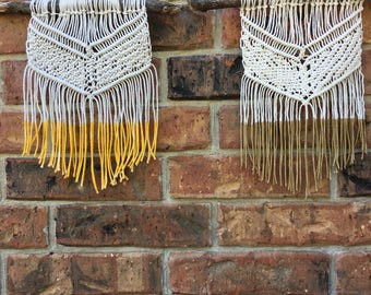 Custom Macrame Wall Hanging with Colored Accent // Small