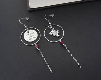 Earrings - Once upon a time ... The Queen of Hearts - Inspired by Alice in Wonderland - Hypoallergenic stainless Steel